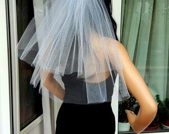Bachelorette party veil white middle length, 2-tier. Hen party veil, bride veil, wedding veil, bachelorette party idea