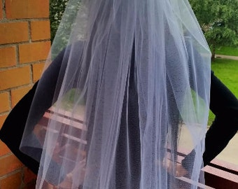 Bachelorette party veil white long length, 2-tier. Hen party veil, bride veil, wedding veil, bachelorette party idea