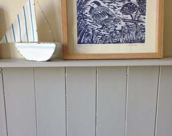 Wagtail Bird Handmade Linoprint A5