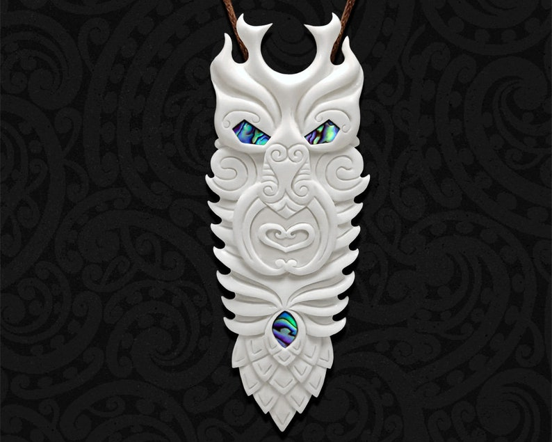 94ce9831e Maori Necklace New Zealand Tribal Bone Carving Pendant | Etsy