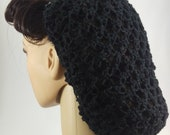 1940s Hairstyles- History of Women's Hairstyles LoversKnot Hair Snood LinenBlend in Black  1940s Glamour  Pin Up $23.51 AT vintagedancer.com