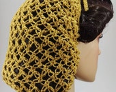1940s Hairstyles- History of Women's Hairstyles Lovers Knot Hair Snood in Soft Gold  Italian Ribbon Yarn  1940s Glamour $20.74 AT vintagedancer.com