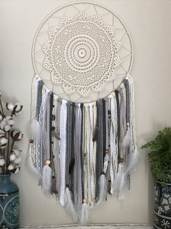 Extra Large Gray And White Dream Catcher Wall Hanging Etsy Amazing Extra Large Dream Catchers For Sale