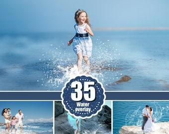 35 water splash photo Overlays, Photoshop Overlay, Photography Overlays, sea summer river ocean overlays, splatter overlay, png