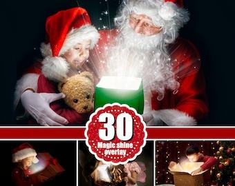 30 magic shine box, Christmas present, Photoshop Mix Overlays, Fantasy New Year Photo overlays, sparkles of light magic effect, png