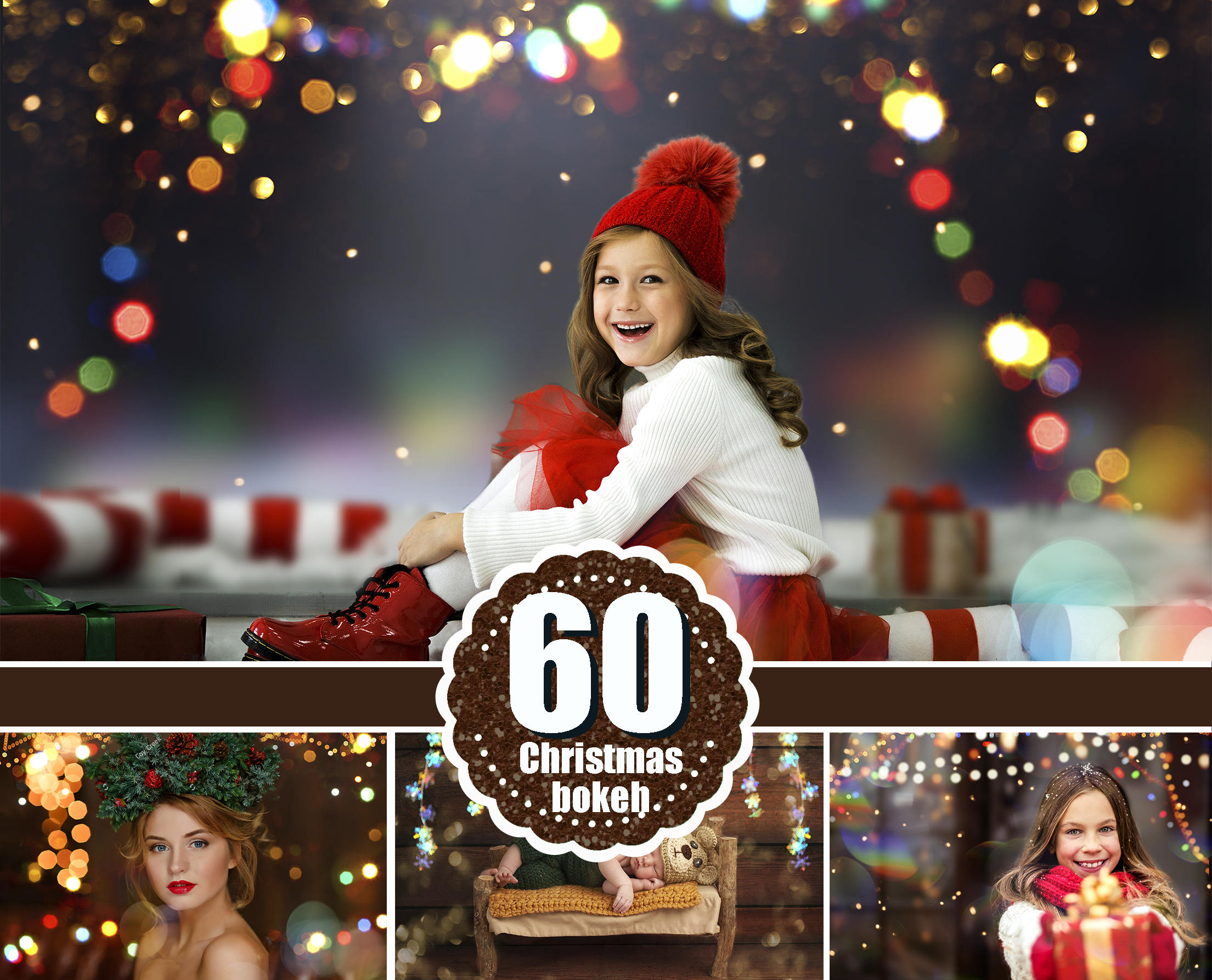 60 Christmas Bokeh Light Overlays, Digital Backdrop, Digital Background,  Holiday Wedding Lights, Photoshop overlay, gold light, jpg file