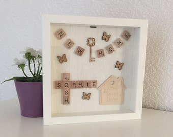 Scrabble Art, personalised New Home Scrabble Frame