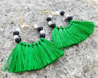 Tassel Earrings  / Statement Earrings / Tassel Jewelry / Statement Jewelry /Statement Earrings / Fringe Earrings / Green Tassel Earrings