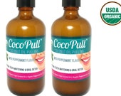 Organic Coconut Oil Pulling Mouthwash, Bad Breath Remedy, Natural Teeth Whitening - With Peppermint Taste. 2 4oz Bottles
