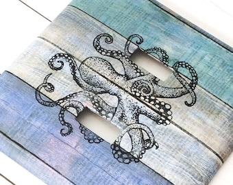 Nautical Switchplate ~ Octopus Double Light Switch Cover ~ Kraken Bathroom