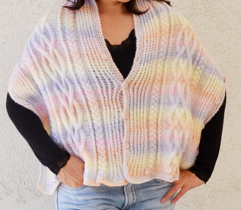 Womens wrap bolero shrug with 3 4 sleeve Shawl bolero wrap Pink white shrug wrap sweater Wrap cardigan bolero Knitted cardigan shrug