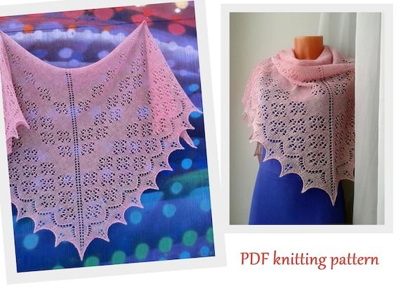Knitting ideas PDF file Instant Download Lace triangular shawl pattern Easy knit pattern