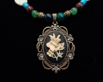 Butterfly on Flower Pendant Beaded Necklace