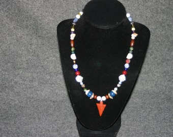 LAST CHANCE: Red Arrowhead Beaded Necklace