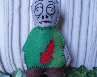 zombie doll, little monster doll, stuffed doll, felt doll, handmade doll pocket sized doll