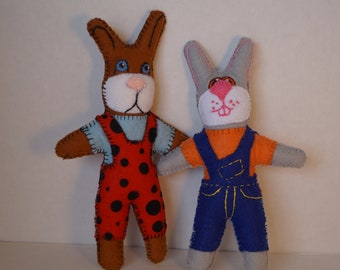 bunny doll, small doll, handmade doll, felt doll, stuffed doll