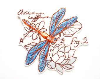 Applique badge patch embroidered Dragonfly fusible