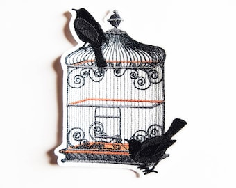 Applique badge patch embroidery fusible cage and birds (crows)