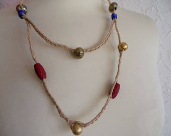 Fiber necklace natural vetetale and beads