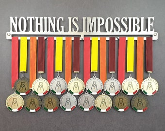 NOTHING IS IMPOSSIBLE stainless steel wall medal hanger 100% made in Italy