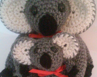 Koala Bear, Mother Koala Bear, Baby Koala Bear, Crocheted Koala Bear, Gray Koala Bear, Stuffed Animal, Jungle Animal, Plushie, Bear
