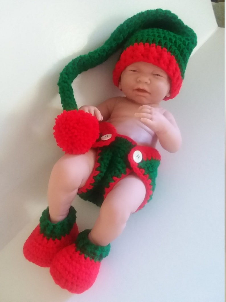 ee51e127adcfe Crocheted Baby Christmas Diaper Cover Set Holiday Diaper