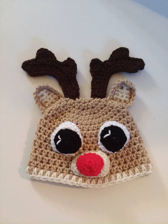 Crocheted Reindeer Hat Infant Reindeer Hat Baby Photo Prop  f1722c91f78