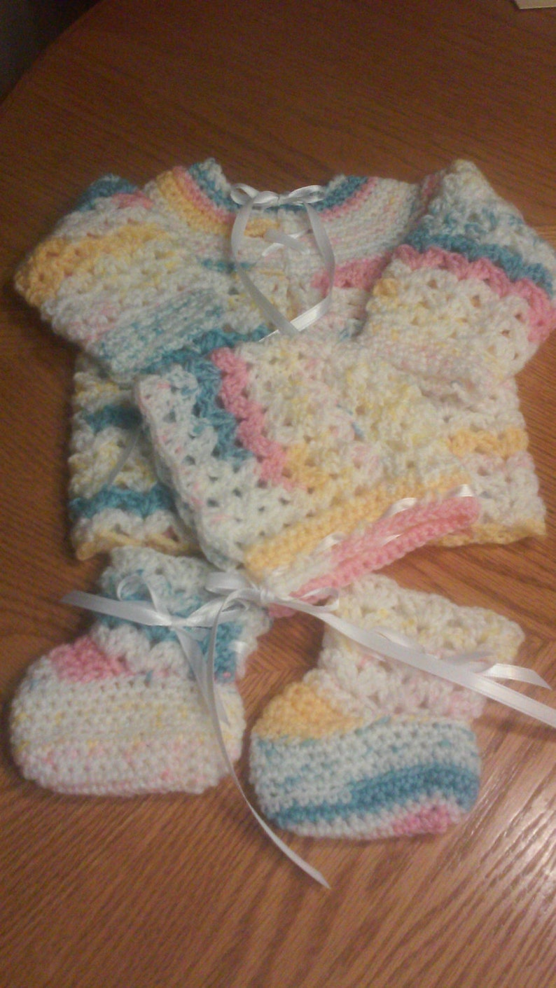 7e8192927fb5 Baby Sweater Set with Hat and Booties Crocheted Sweater Set