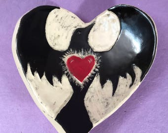 Ceramic Heart with Crow Ring Dish or Spoon Rest