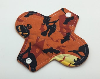 "Witch's Ride 6"" Light Absorbency Cloth Pad, Reusable Cloth Pad, Cloth Menstrual Pad, Cloth Pantyliner,  Ecofriendly, Zero waste"