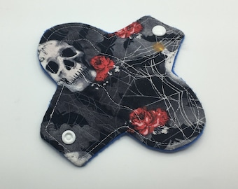 "Gothic 6"" Light Absorbency Cloth Pad, Reusable Cloth Pad, Cloth Menstrual Pad, Cloth Pantyliner,  Ecofriendly, Zero waste"