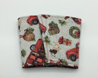 Christmas Truck Coffee Cup Cozy, Coffee Cup Sleeve, Cup Cozy, Cup Sleeve, Reusable Coffee Sleeve