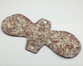 "Rose 12"" Moderate Absorbency Cloth Pad, Reusable Cloth Pad, Cloth Pantyliner, Cloth Menstrual Pad, Zero Waste, Ecofriendly"