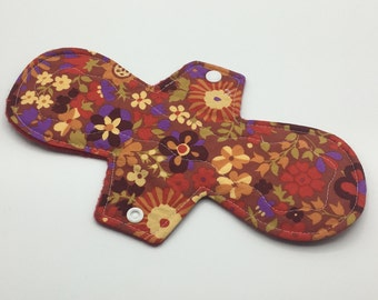 "Red Floral 10"" Moderate Absorbency Cloth Pad, Reusable Cloth Pad, Cloth Menstrual Pad, Cloth Pantyliner,  Ecofriendly, Zerowaste"