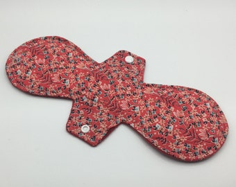 "Dainty Red Floral 12"" Moderate Absorbency Cloth Pad, Reusable Cloth Pad, Cloth Pantyliner, Cloth Menstrual Pad, Zero Waste, Ecofriendly"