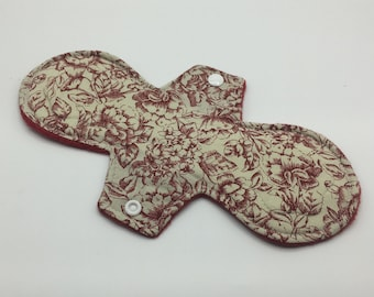 "Rose 10"" Moderate Absorbency Cloth Pad, Reusable Cloth Pad, Cloth Menstrual Pad, Cloth Pantyliner,  Ecofriendly, Zerowaste"