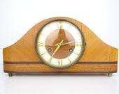 German HERMLE Vintage Retro Mantel Mantle Desk Shelf Clock (Junghans Kienzle Mauthe era)