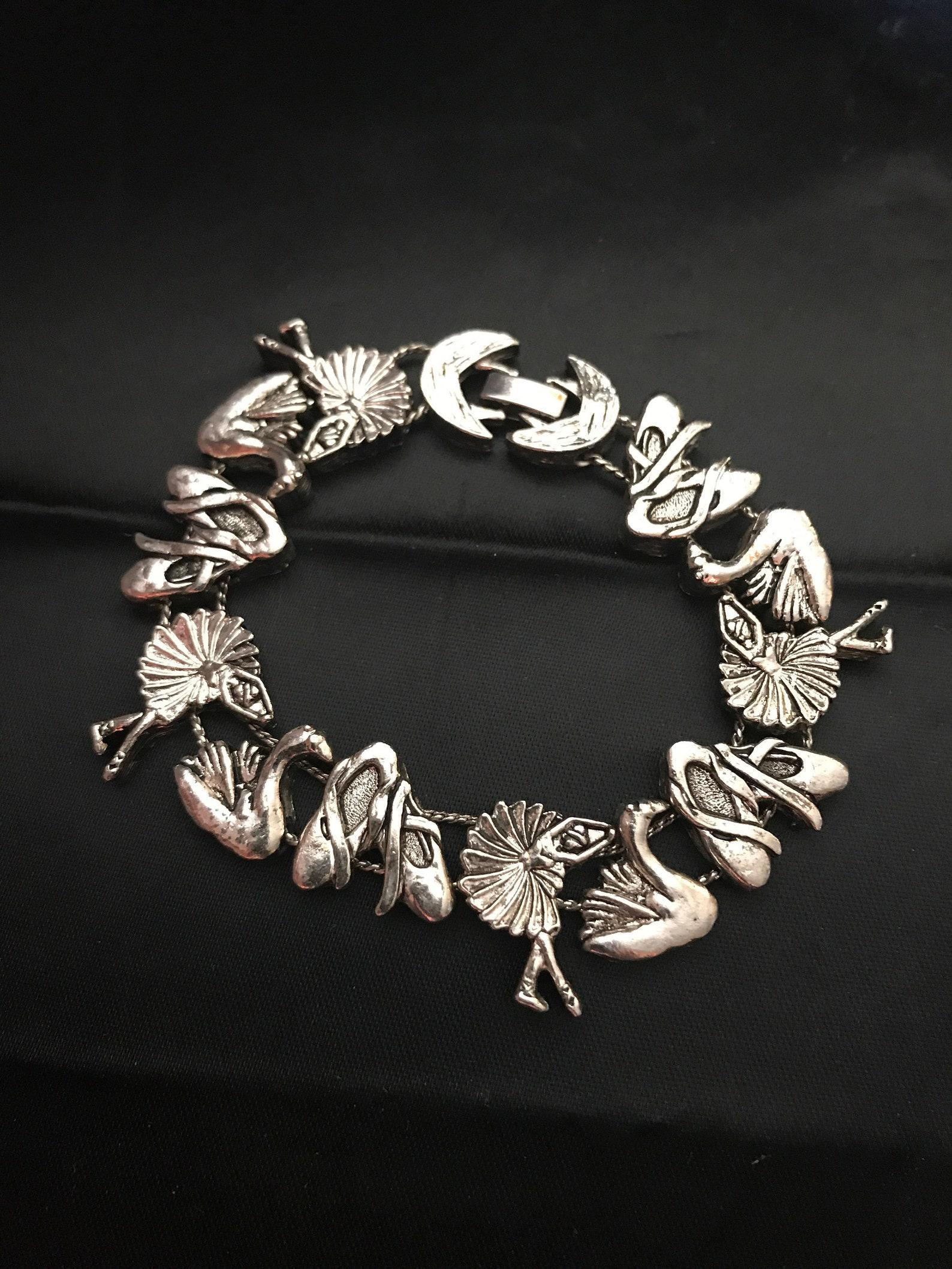 vintage swan lake ballerina charm slide bracelet-ballet sean lake theme bracelet