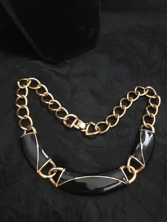 Monet Black Enamel & Gold Tone Necklace-Vintage Mo