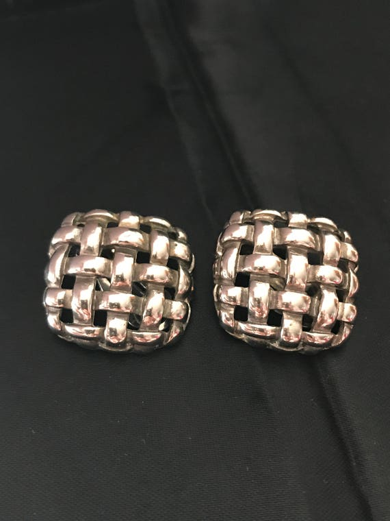 Vintage Givenchy Shiny Silver Tone Basketweare Op… - image 6