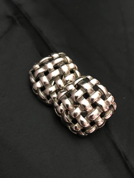 Vintage Givenchy Shiny Silver Tone Basketweare Op… - image 8