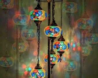"""FREE SHIPPING, Floor Lamp Turkish Lamp Glass Lampshades Bedside Moroccan Night Lights 50"""" Height 7"""" Glass Diameter"""