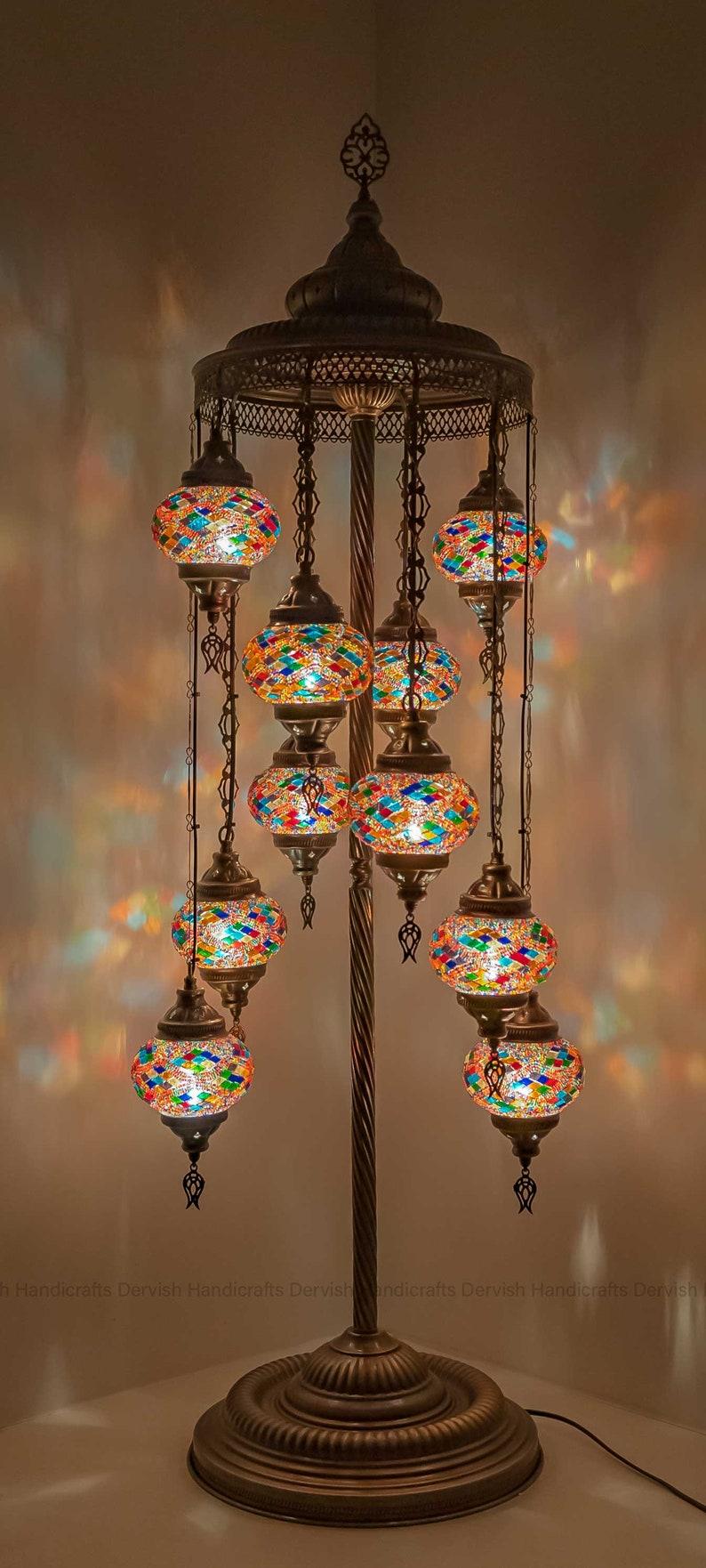 10 BALLS FLOOR Lamp Turkish Lamp Bedside Lamp Moroccan Lampshade 55 Height 5 Globes Diameter