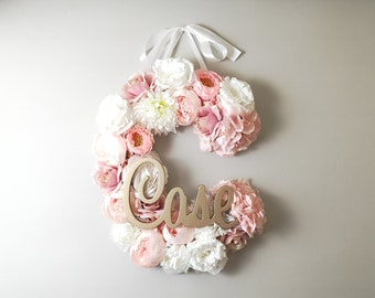 Flower Letter Nursery floral monogram pink nursery theme Baby floral bridal shower Custom letter art