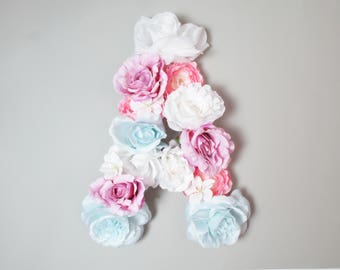 Floral letter A / Wall decor letter A/ nursery letters A/ babies name letter / wall art baby name/ nursery letter A/ baby shower blush