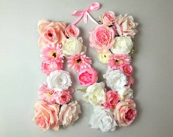 Flower letter E / name above crib / large above the crib / rustic desk decor/ nursery name sign/ farmhouse style/ above bed art/ wall art