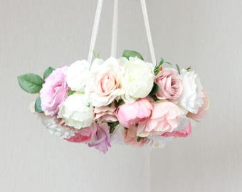 Rose baby mobile/  baby mobile floral/ Rustic Flower Baby/ woodland mobile/ woodland nursery girl flower/ baby flower pink/ baby girl mobile