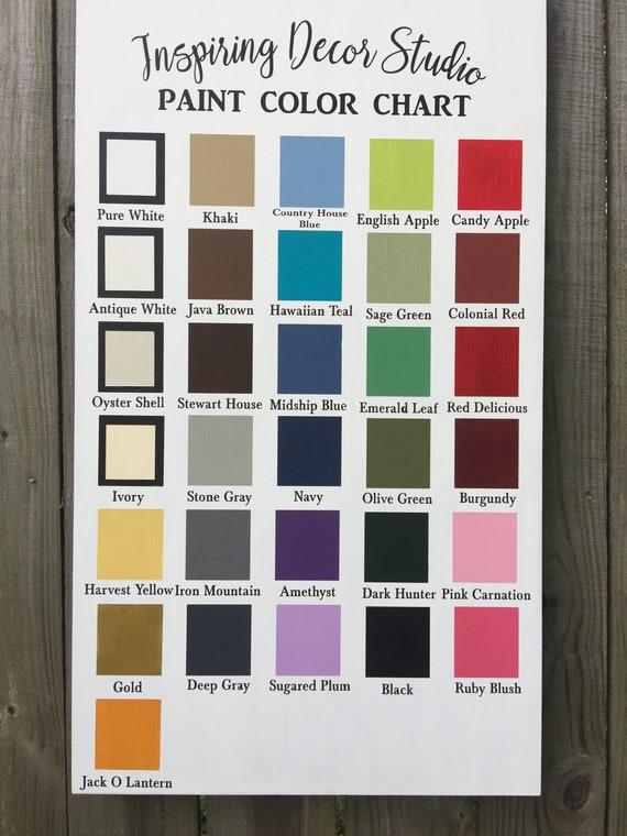 Color Chart Not For Sale Etsy