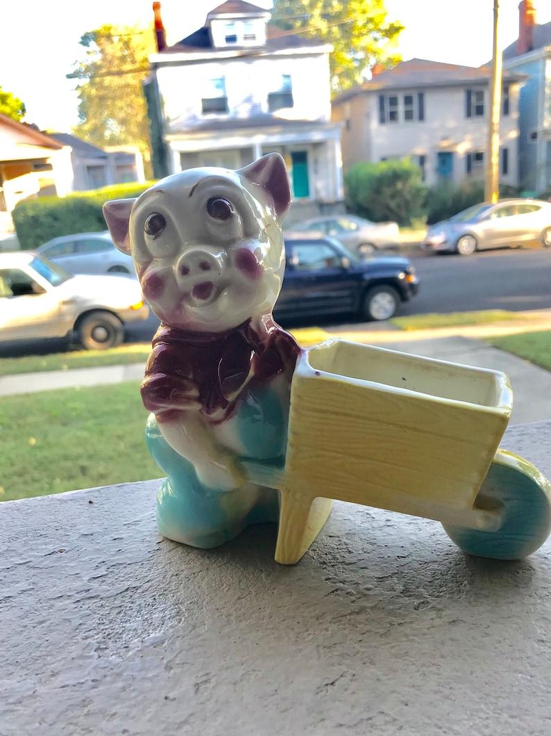 Pig with wheel barrow vintage planter