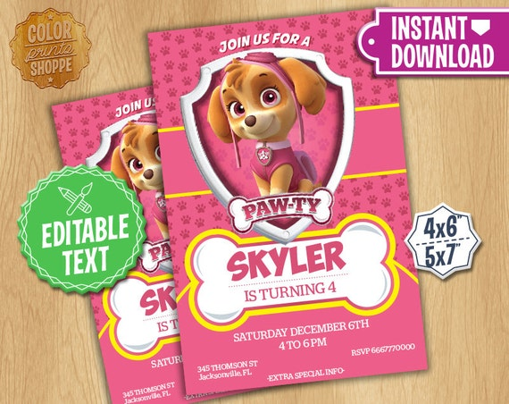 Paw Patrol Invitation EDITABLE TEXT Skye Customizable Paw | Etsy